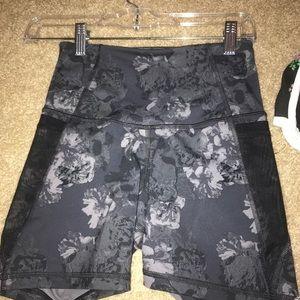 Black floral active workout shorts
